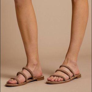Suede Cocoa STEVEN slide sandals
